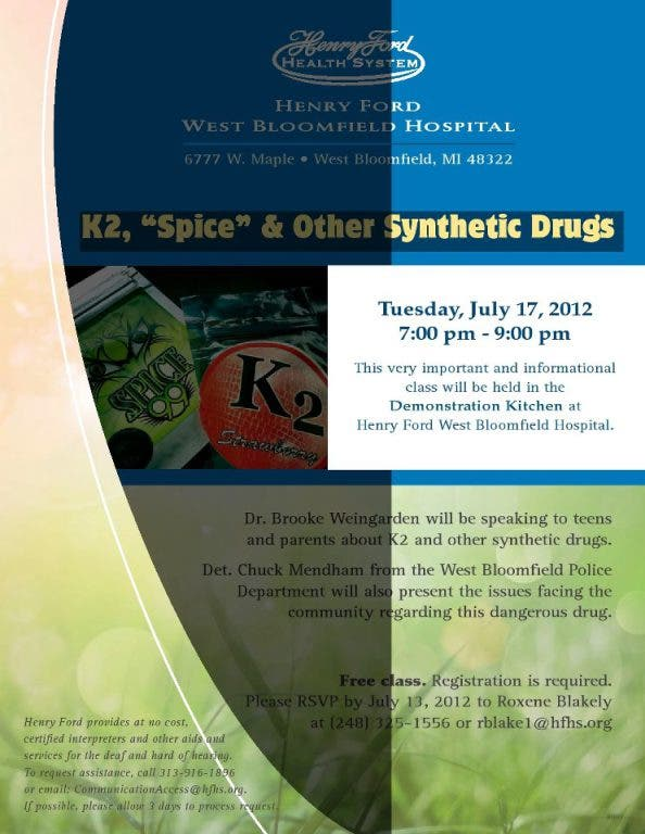 Henry Ford Offers Seminar on K2, Spice, Synthetic Drugs