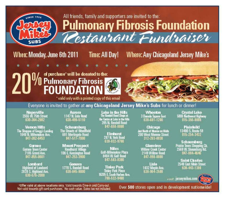 photograph relating to Jersey Mike's Printable Coupon known as Jersey Mikes Donating Continues These days in direction of Pulmonary Fibrosis