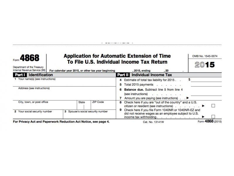 Irs Form 4868 Extension For 2016 Tax Deadline In Nj Little Silver