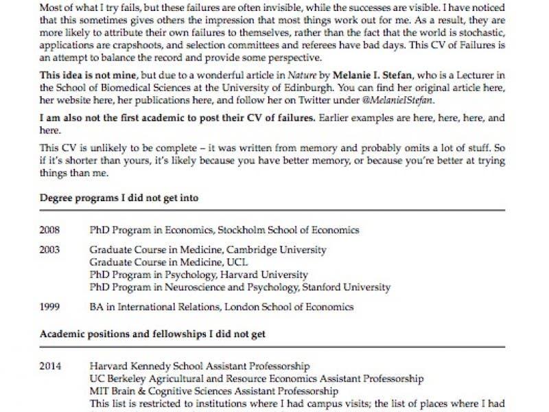 Princeton Professor S Resume Of Failures Goes Viral Princeton