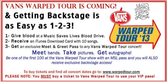 how to get vip passes for warped tour