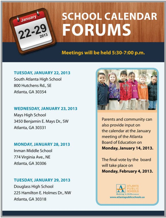 Atlanta Public Schools Calendar.Aps Calendar Vote Pushed To March Midtown Ga Patch