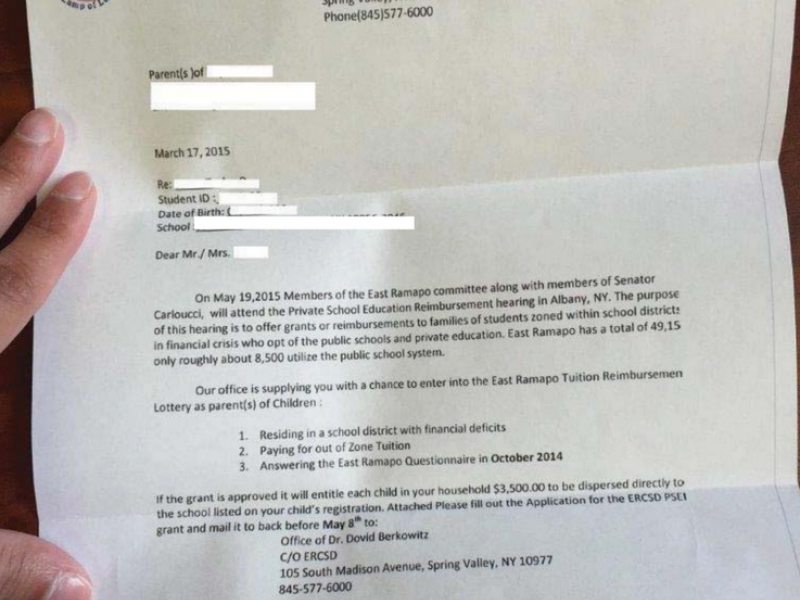 UPDATE: East Ramapo School Officials React to Fake Tuition