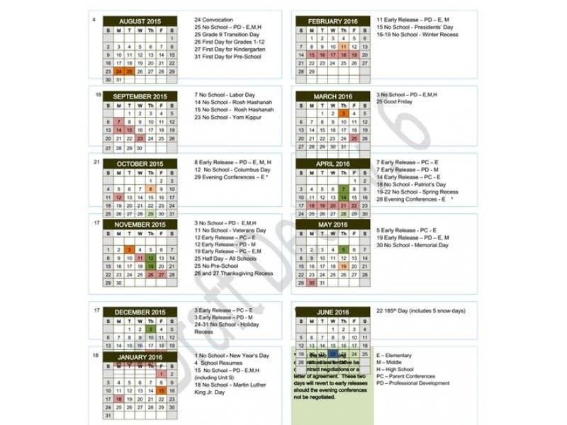 proposed 2015 16 calendar presented to framingham school committee
