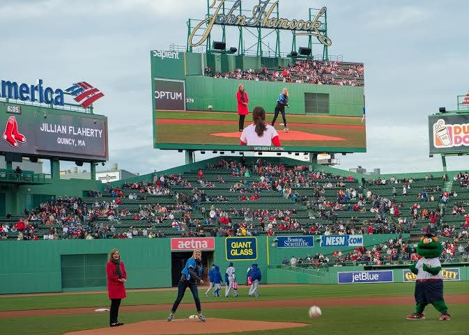Framingham State Student Throws Out First Pitch At Fenway Park