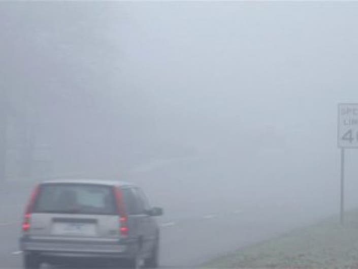 Hovering Fog, Torrential Rain = Poor Visibility on Roadways