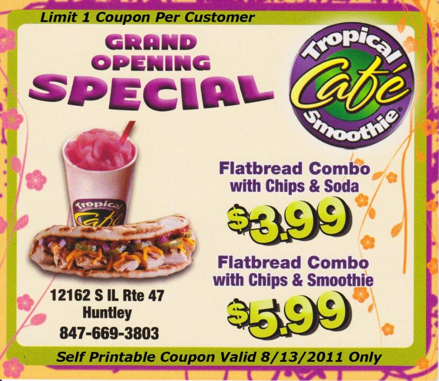 image regarding Tropical Smoothie Coupons Printable identify Tropical Smoothie Restaurant-Huntley Grand Opening Huntley, IL Patch