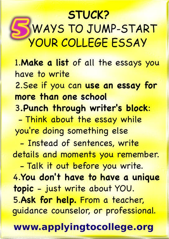 Writing an essay for college application do you start