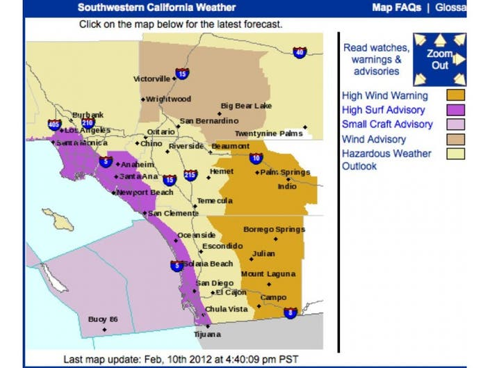 High Wind Warning for San Diego County Mountains Saturday