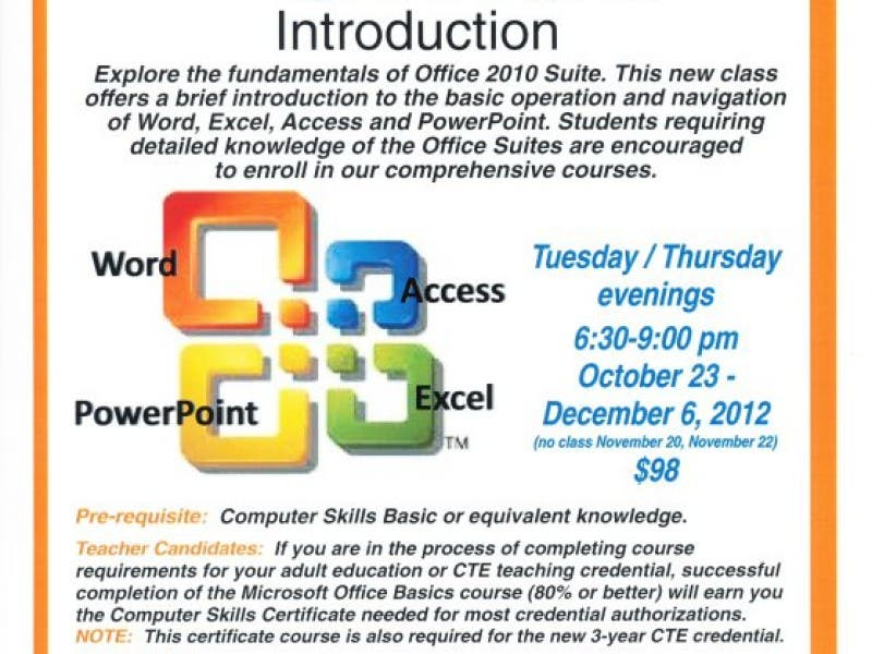 Microsoft Office New Class Starts Oct 23 At Castro Valley Adult