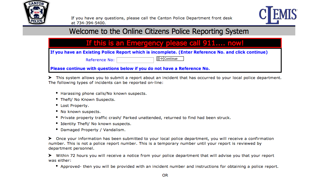 Canton Police Department to Offer Online Citizen Reporting