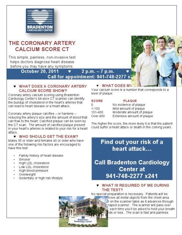 THE CORONARY ARTERY CALCIUM SCORE CT | Bradenton, FL Patch