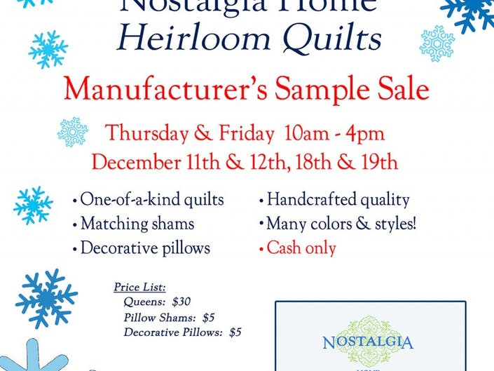 2e7467dcc7987f Nostalgia Home Heirloom Quilts Manufacturer's Sample Sale ...