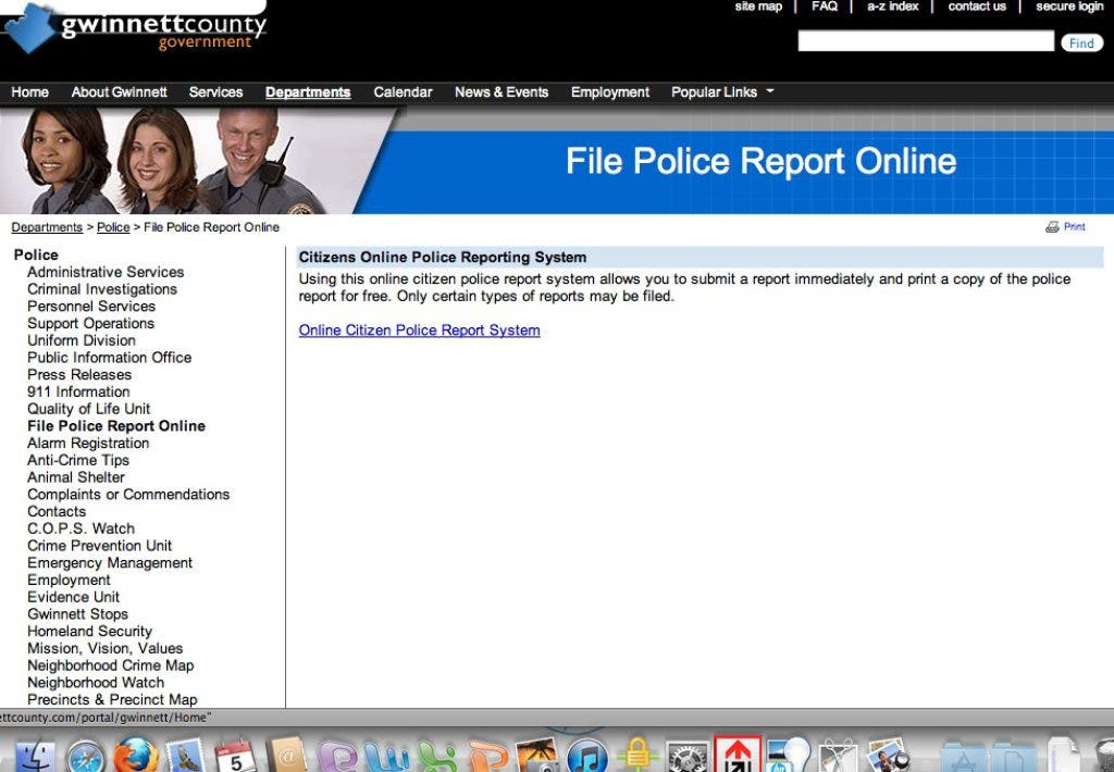 Gwinnett Police Initiating Online Crime Reporting