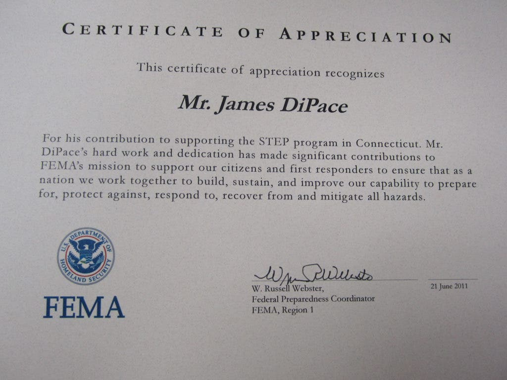 FEMA and Lion's Club Recognize James DiPace's Service in