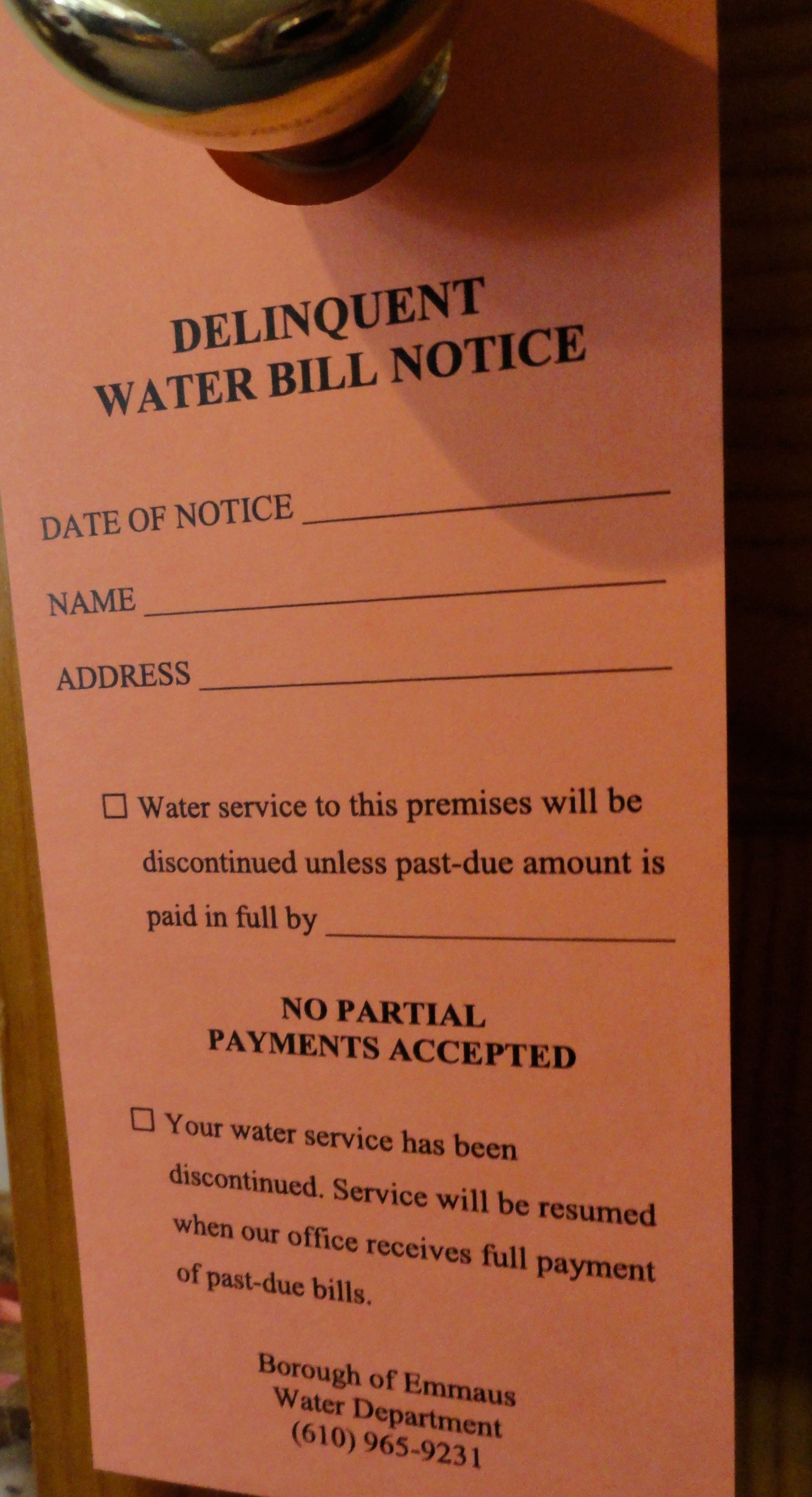 Late Water Customers May Face $30 Red Tag Fee | Emmaus, PA Patch