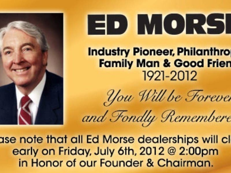 Services July 6 For Ed Morse Cadillac Brandon Namesake Brandon Fl