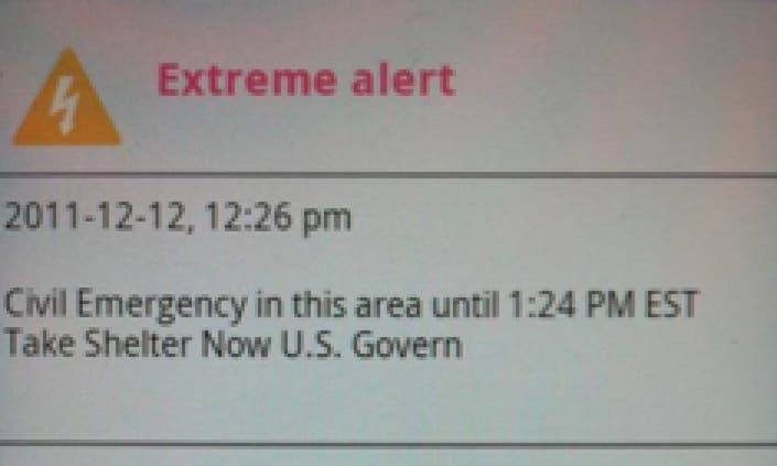 Update: Verizon Says Emergency Message Was a Test   Lacey