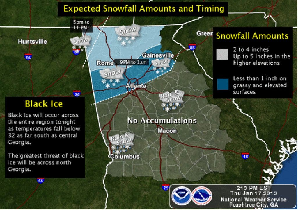 2 to 4 Inches of Snow Possible for Cartersville, Bartow