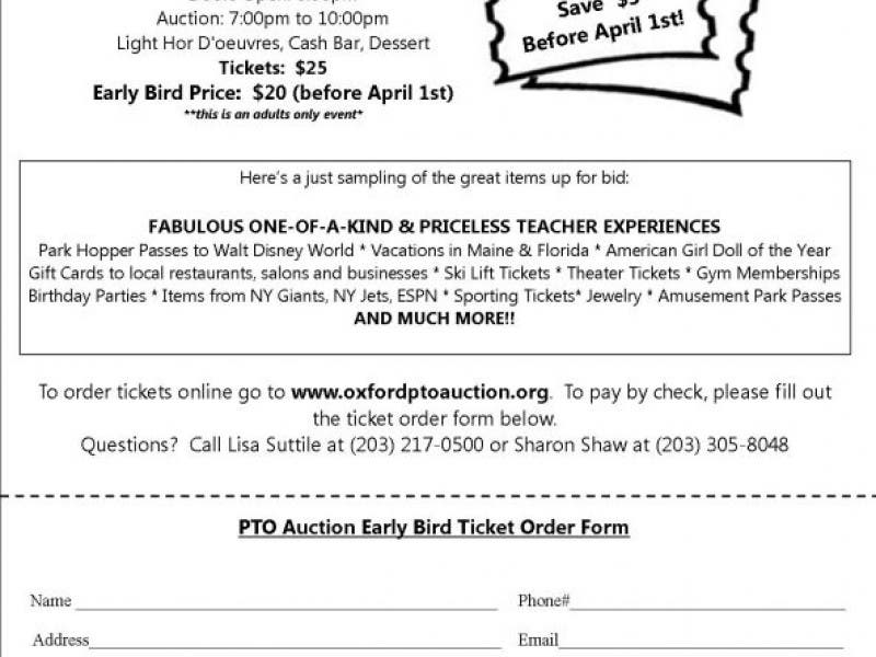 Oxford PTO Auction Tickets for Sale - Buy Early & Save