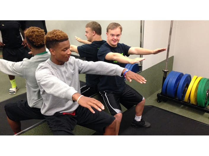 WSDRA Athletes Pump Iron with COD Football Players   Glen Ellyn, IL
