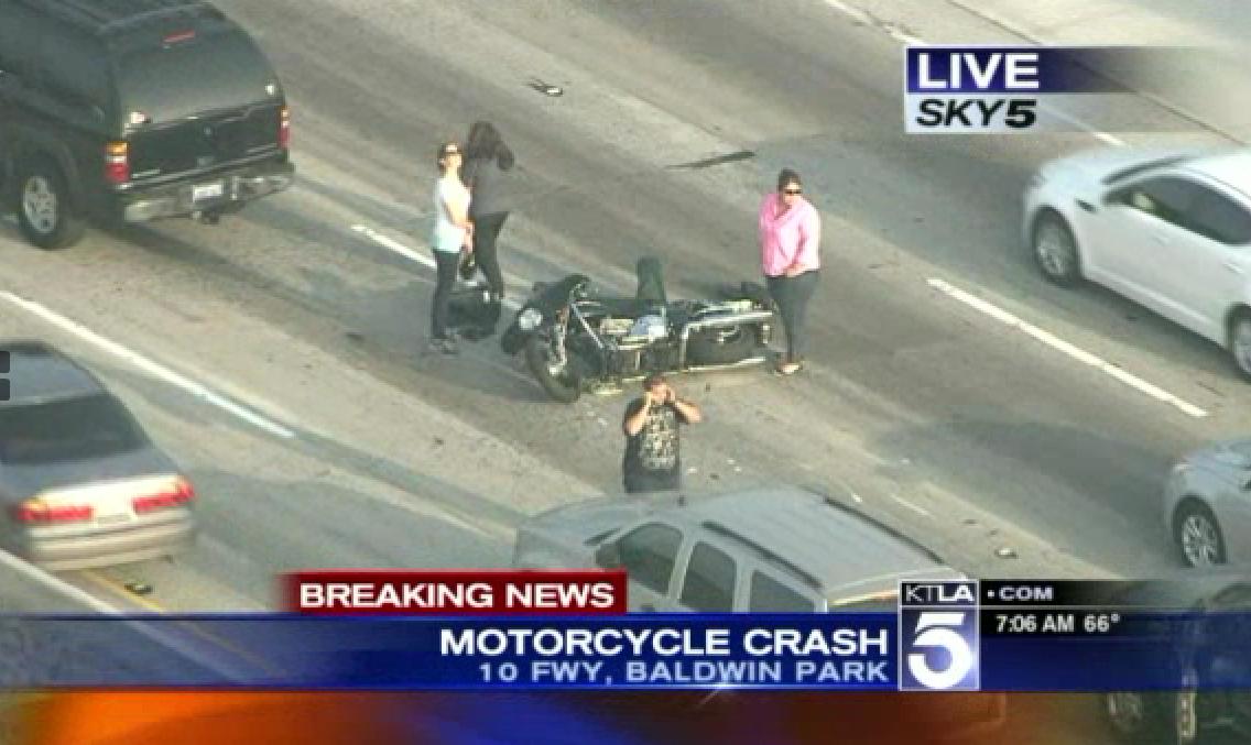 Car Accident Snarls Traffic on 10 Freeway in Baldwin Park