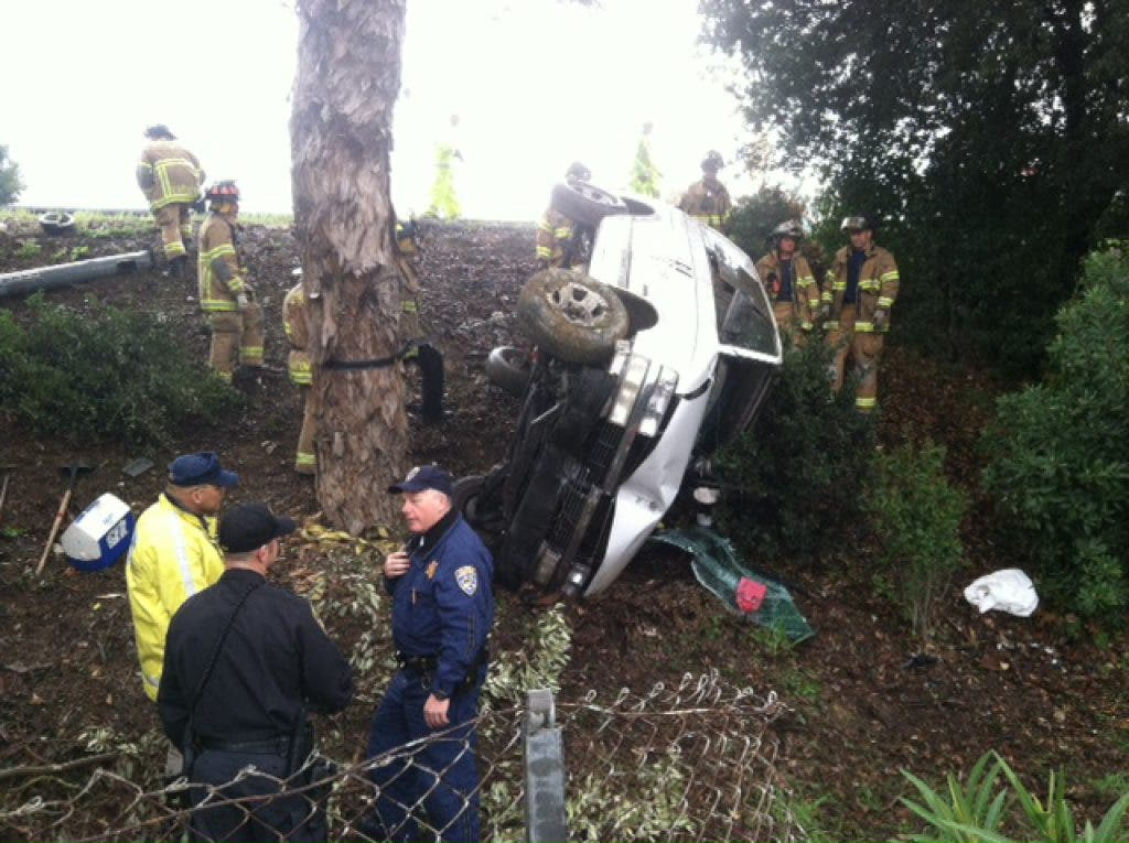 Fatal Accident: Car Flips Off I-680 Near Willows Shopping Center