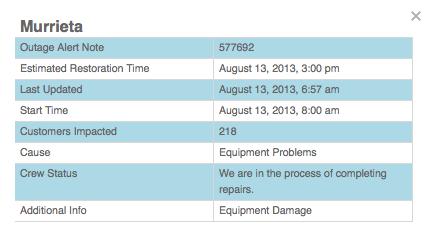 Power Outage Affects 218 Murrieta Customers   Murrieta, CA Patch