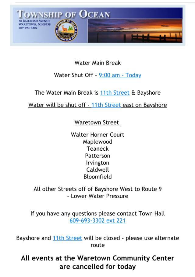 Water Main Break In Waretown Affecting Certain Streets Barnegat Nj Patch
