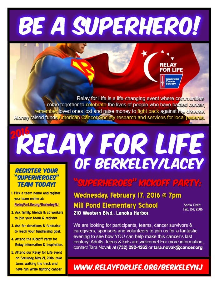 First Meeting Of 2016 Berkeley-Lacey Relay For Life Coming