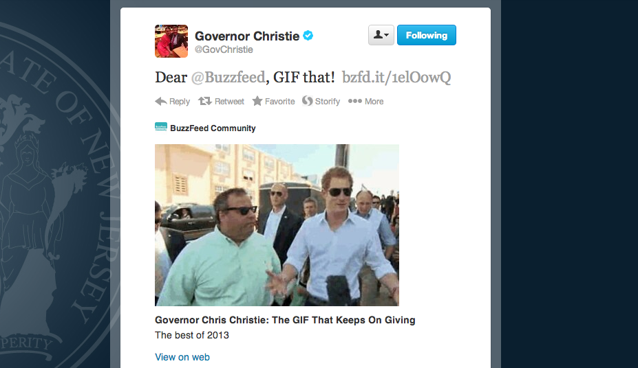 Christie Debuts On Buzzfeed With His 21 Best Moments Of 2013 Hasbrouck Heights Nj Patch