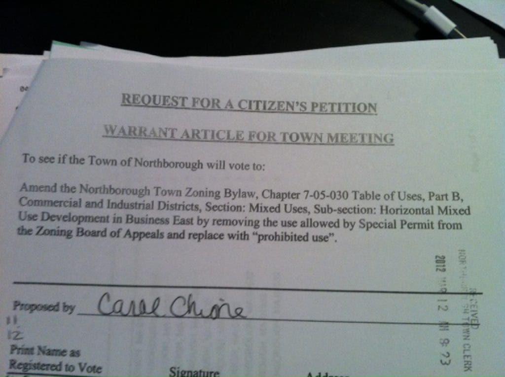 Citizens Petition Town to Prohibit More Developments