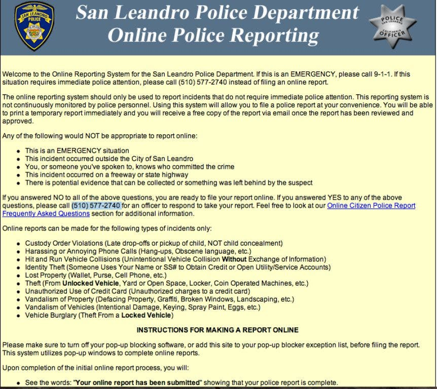 San Leandro Police Department Offers Online Reporting | San
