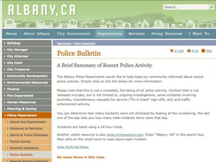 Guest Column: Police Bulletin on City's Website Lacking   Albany, CA