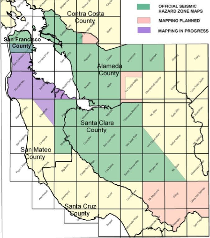 Earthquake Hazard Map For South Bay Planners Issued by State ...