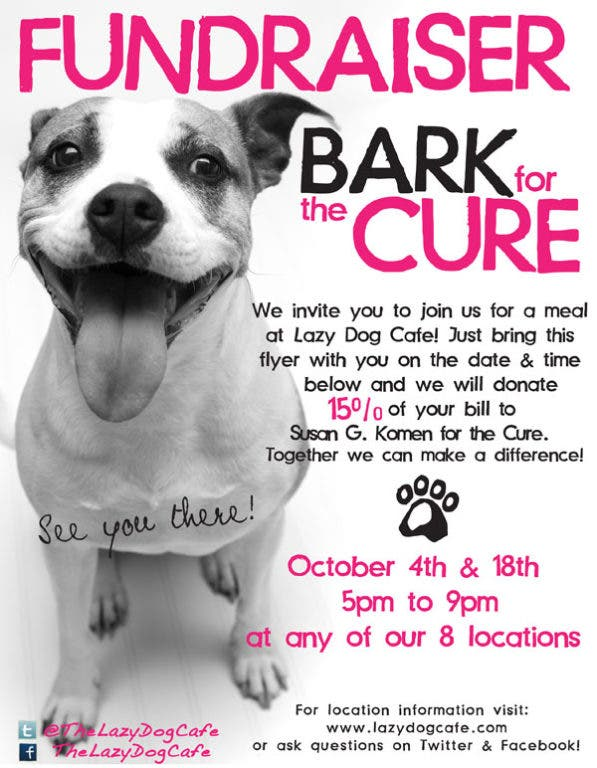 Lazy Dog Cafe to Donate Portion of Tonight's Sales to Breast Cancer