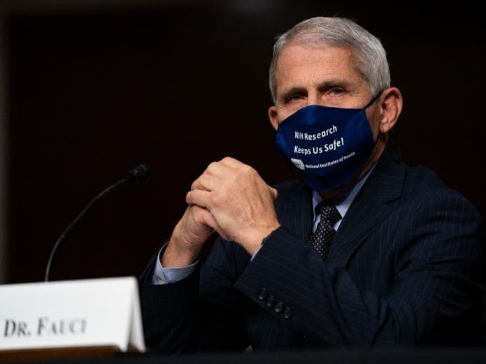 Dr. Anthony Fauci, director of the National Institute of Allergy and Infectious Diseases, testifies on Capitol Hill on Wednesday, Sept. 23, 2020, in Washington.