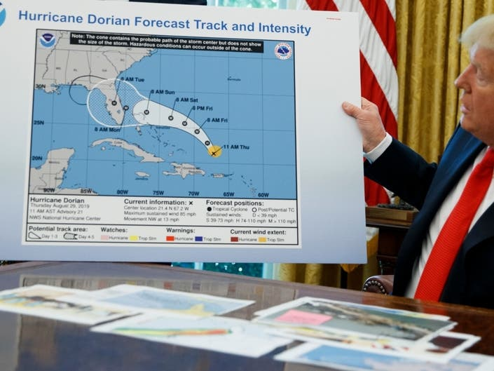 Trump Uses Altered Map To Back His Claim Dorian Would Hit