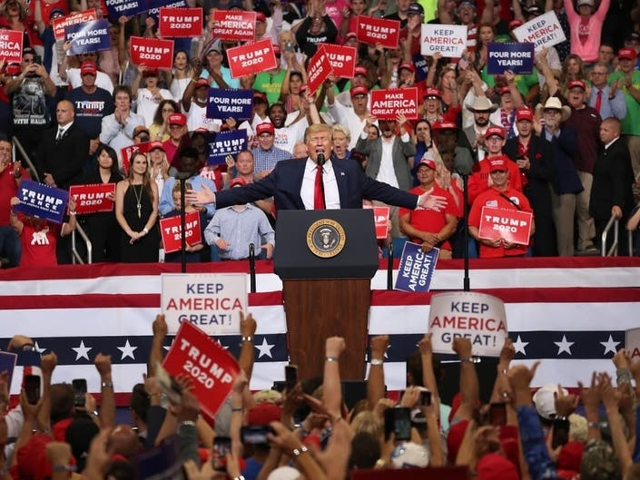 3bb6fea56 ... President Donald Trump speaks during his rally where he announced his  candidacy for a second presidential