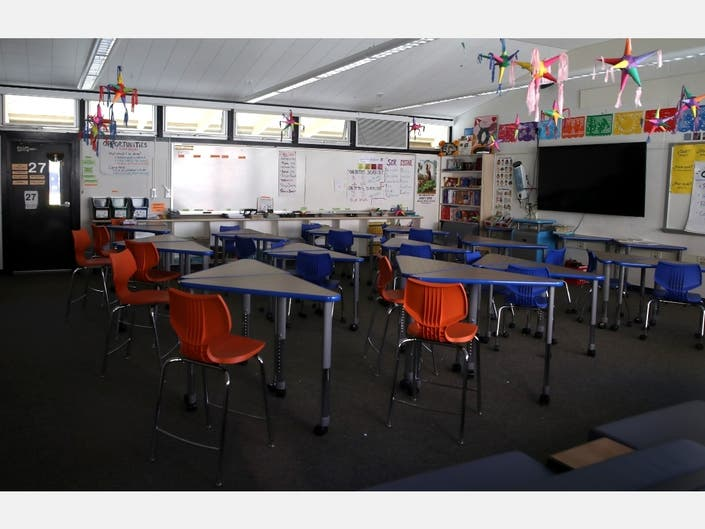 A classroom sits empty at Kent Middle School on April 01, 2020 in Kentfield, California. California Gov. Gavin Newsom announced that schools will remain closed through the end of the academic year due to shelter-in-place orders necessitated by COVID-19.