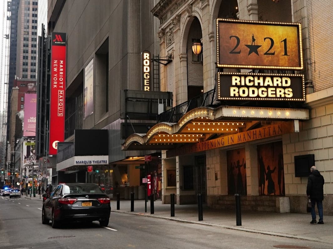 """""""Hamilton"""" at Richard Rodgers Theatre near Times Square remained closed following restrictions imposed to slow the spread of coronavirus on Jan. 15."""