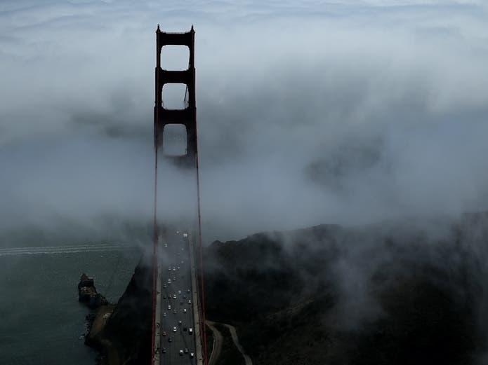SAN FRANCISCO, CA - SEPTEMBER 08: The north tower of the Golden Gate Bridge is seen surrounded by fog on September 8, 2013 in San Francisco, California.