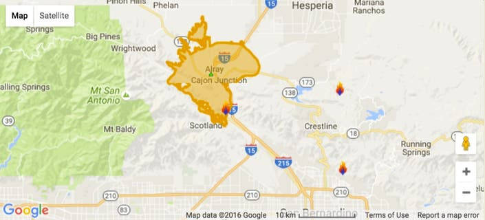 Some Evacuations Lifted Interstate 15 Reopens In Cajon Pass Blue