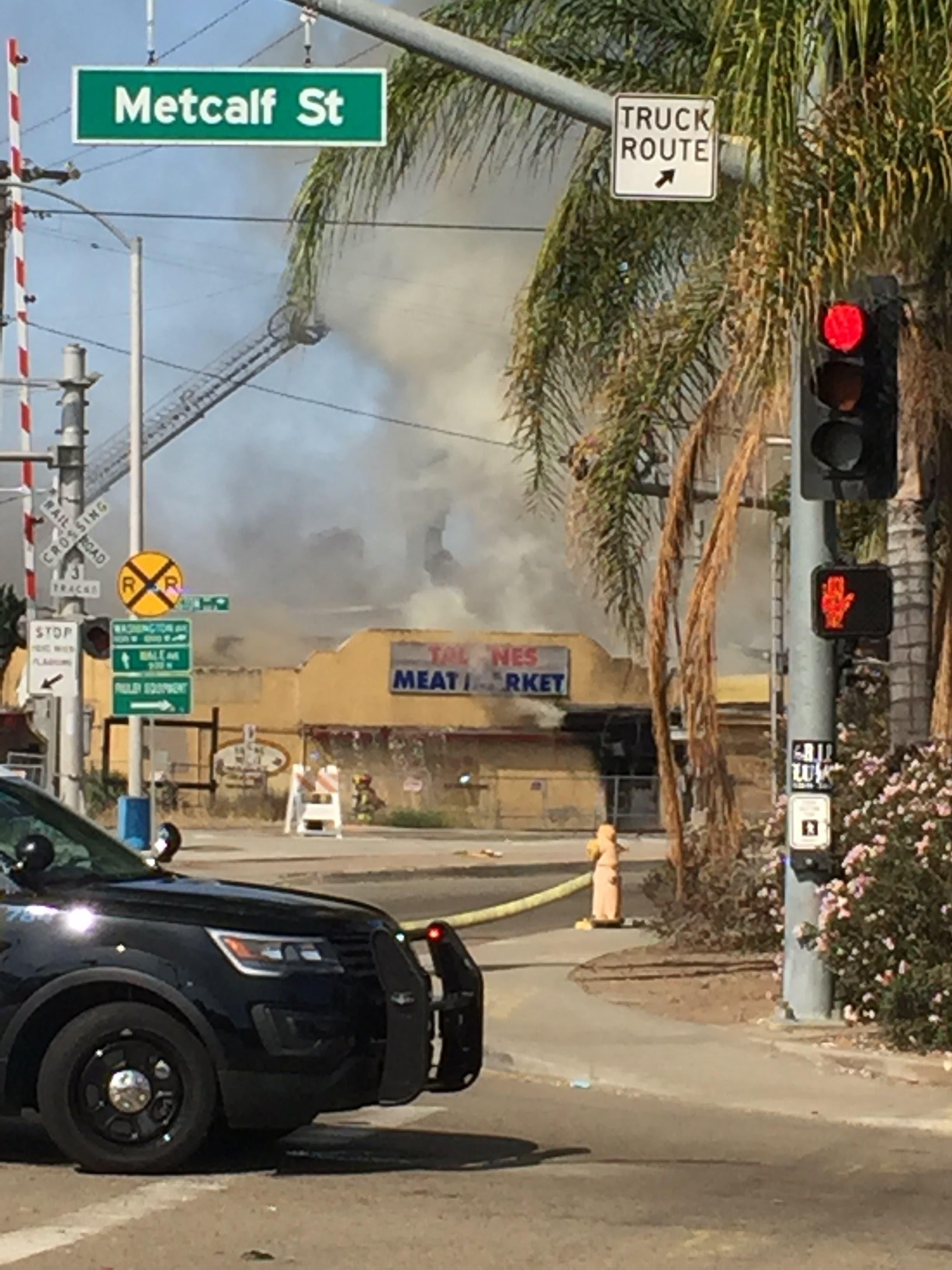 Escondido Fire: Abandoned Meat Market Burns, Sending Smoke Across ...