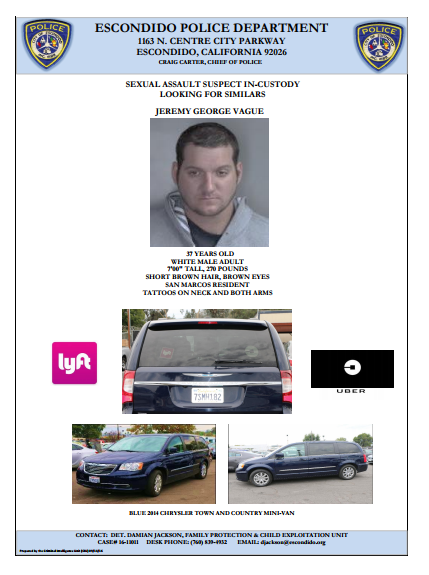 North County Uber, Lyft Driver Arrested in Sexual Assault