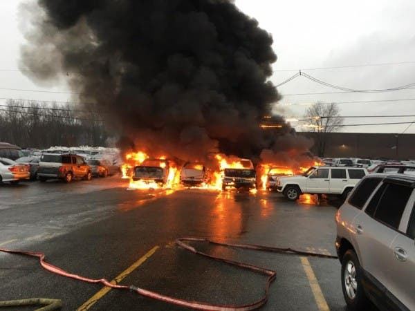 Firefighters Combat Blaze At N J  Auto Lot     Again   Verona, NJ Patch