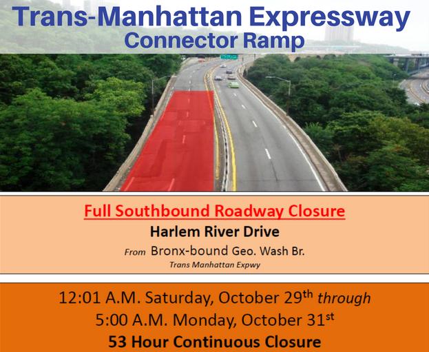 Trans Manhattan Expressway Ramp To Shut Down This Weekend