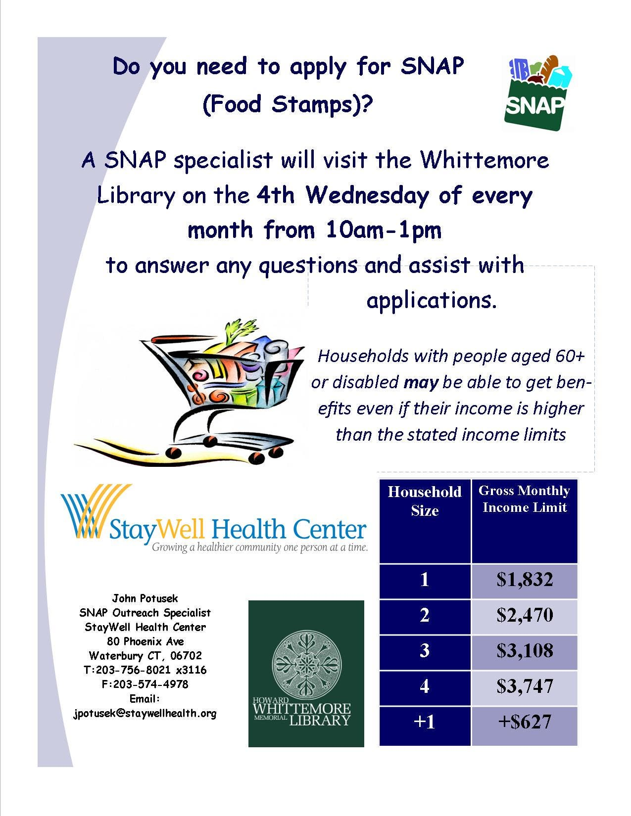 Howard Whittemore Library To Offer Snap Application Assistance