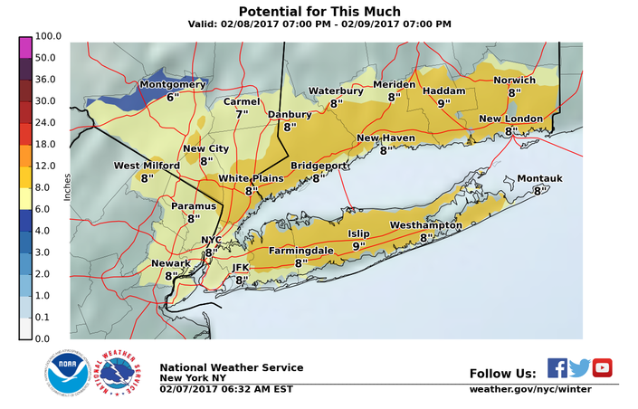 Long Island Weather Forecast Snowfall Estimate Maps Released For - Snowfall-map-us