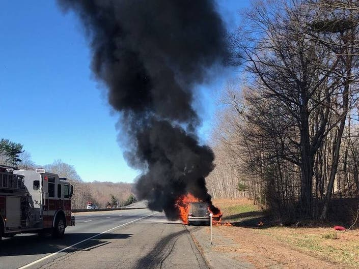 Car Catches Fire on Stretch Of Tolland Highway